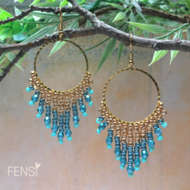 FENSI - Oorbellen -  cirkel fringes turquoise
