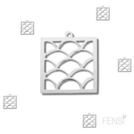 Stainless steel bedel - vierkant bewerkt - per stuk