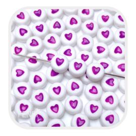 Acryl kralen met paars hart - 10 stuks