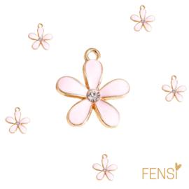 Trendy Bedels - bloem strass roze - emaille - per stuk