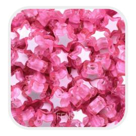 Acryl kralen - sterren  roze - per 10 stuks