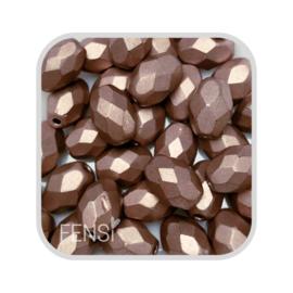 FP Oval Facet - metallic suede light brown - per 10 stuks