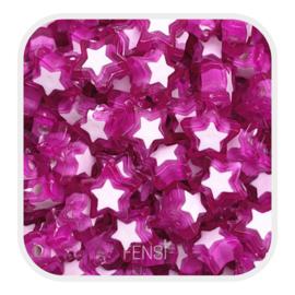 Acryl kralen - sterren  paars - per 10 stuks