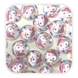 Cabochons 12 mm - unicorn multicolor - per stuk