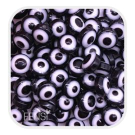 Acryl kralen - evil eye kralen zwart - per 10 stuks