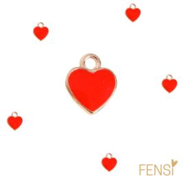 Trendy Bedels - mini hartje rood- emaille- per stuk