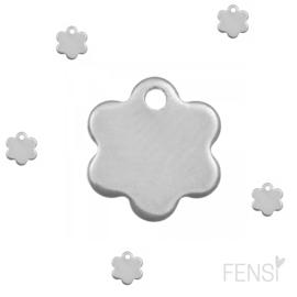 Stainless steel bedel bloem - zilver - per stuk