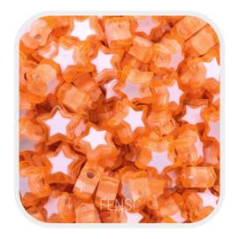 Acryl kralen - sterren  oranje - per 10 stuks