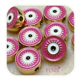 BOHO Beads - rond roze- per stuk