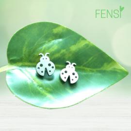 Kinderoorbellen - stainless steel oorstekers - lieveheersbeestje