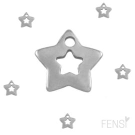 Stainless steel bedel ster - zilver - per stuk