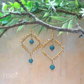FENSI - Oorbellen - wire-wrap petrol bedels