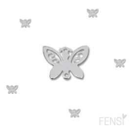 Stainless steel connector vlinder - zilver - per stuk