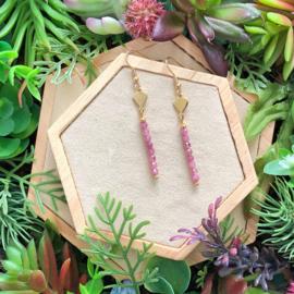 FENSI Gems - Oorbellen -  roze Toermalijn