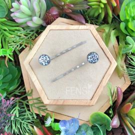 FENSI schuifspeldjes met leopard print - zilver met roze