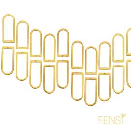 Raw Brass - dichte U vorm - per 2 stuks