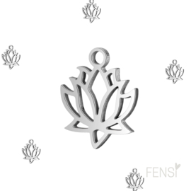 Stainless steel bedel lotus - zilver - per stuk