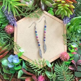 FENSI Good Vibes - oorbellen - multicolor met veer bedel