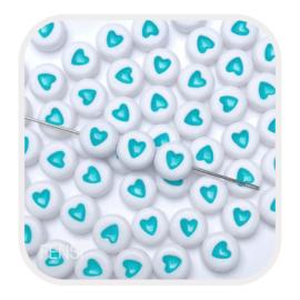 Acryl kralen met turquoise hart - 10 stuks