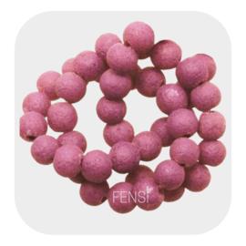 Glaskralen  pumice  6mm -  dark pink
