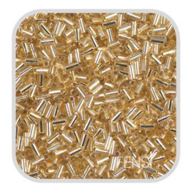 Miyuki Bugle Beads 6 mm - silverlined gold 003