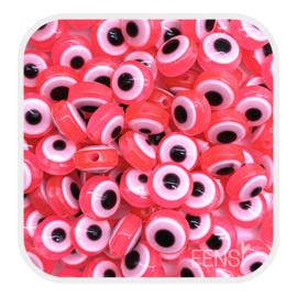 Acryl kralen - evil eye kralen felroze - per 10 stuks