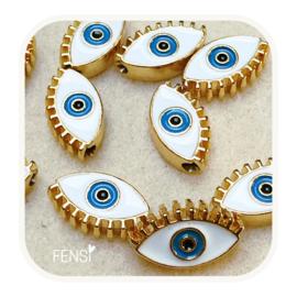BOHO Beads - oog wit - per stuk