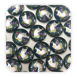 Cabochons 12 mm - unicorn donker - per stuk
