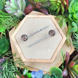 FENSI schuifspeldjes met leopard print - beige