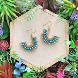 Oorbellen FENSI fans - waaier goud en turquoise