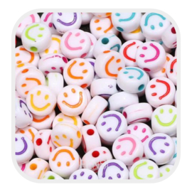 Acryl kralen - smiley faces - wit mix kleuren per 10 stuks