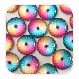 Cabochons 12 mm - bloem multicolor - per stuk