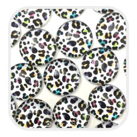Cabochons 12 mm - leopard multicolor - per stuk