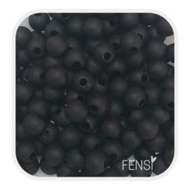 Acryl matte kralen 4mm - zwart