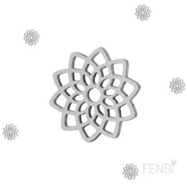Stainless steel bedel mandala - zilver - per stuk