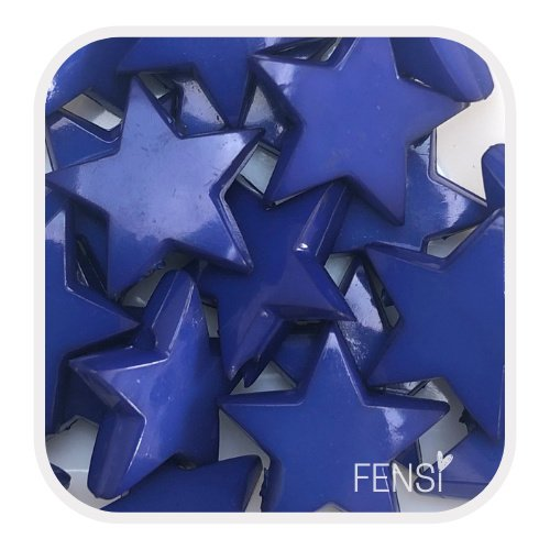 Acryl kralen - sterren  donkerblauw - 6 stuks