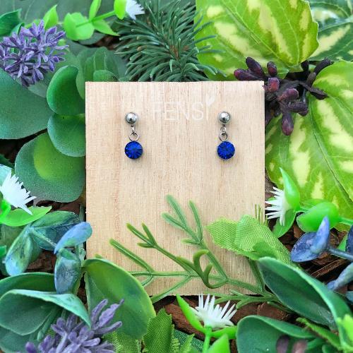 FENSI Kinderoorbellen - oorstekers crystal hanger - royal blauw