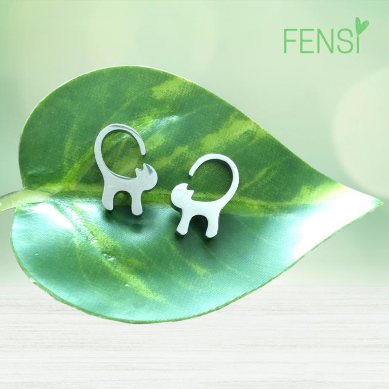 Kinderoorbellen - stainless steel oorstekers - poes staand
