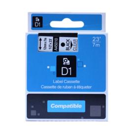 DYMO D1 tape 45010 (S0720500) zwart op transparant 12mm - huismerk