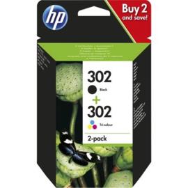 HP 302 zwart en kleur combo-pack origineel