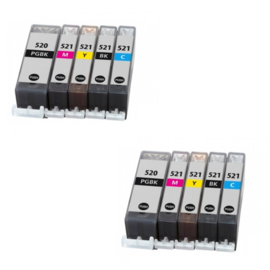 CANON PGI-520/CLI-521 Multipack BB/BB/CC/MM/YY huismerk (10 cartridges)