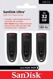 Sandisk Ultra USB Stick 3.0 - 32Gb 3 stuks