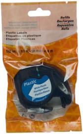 DYMO Letratag 91201 zwart op wit - plastic - huismer
