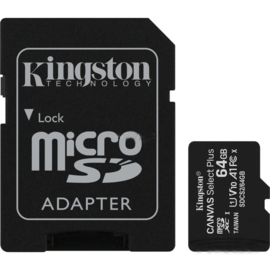 KINGSTON Canvas Select Plus Micro SD-Card met adapter 64Gb