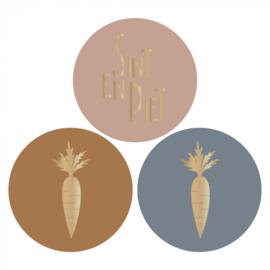 Sticker multi | wortel/tekst - 6 stuks
