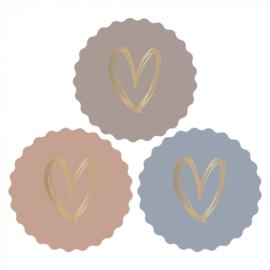 Sticker   Heart gold autumn   6 stuks