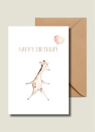 Kaart | Happy birthday roze