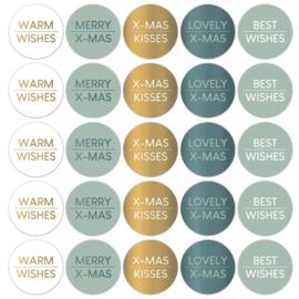 Sticker | Kerstwensen | Cool - 5 stuks