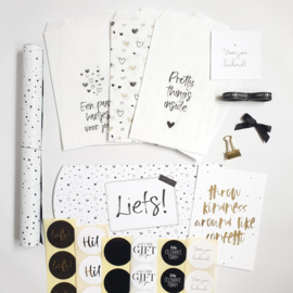 Inpakset | Zwart/wit - goud