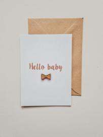 Kaart | Hello baby - hout strikje